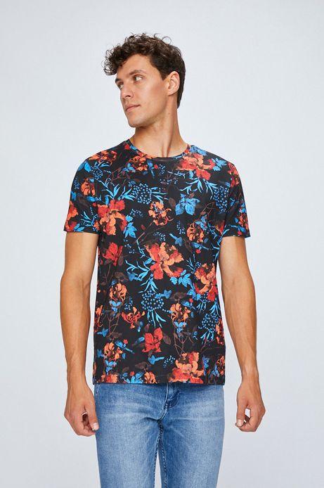 T-shirt męski czarny w kwiaty