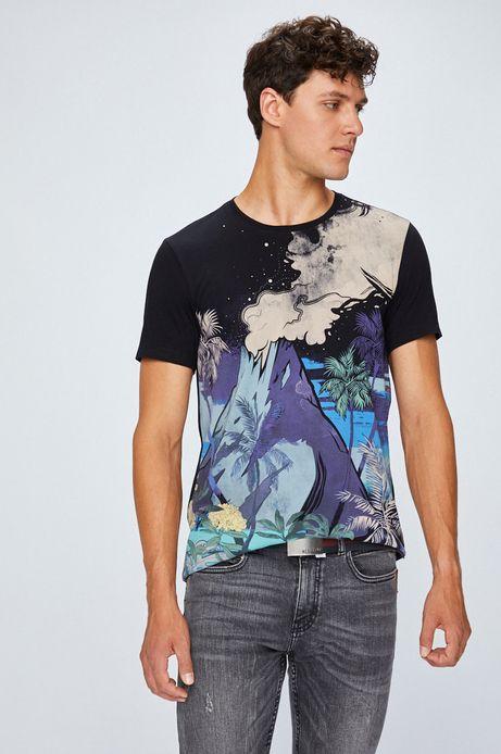 T-shirt męski czarny ze wzorem