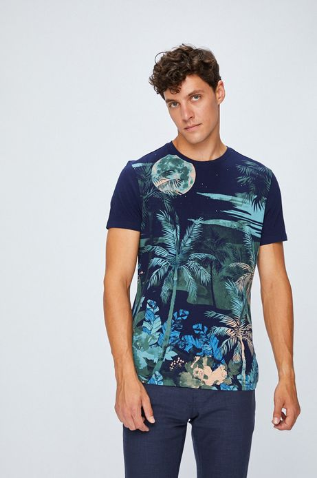 T-shirt męski z krótkim rękawem granatowy ze wzorem