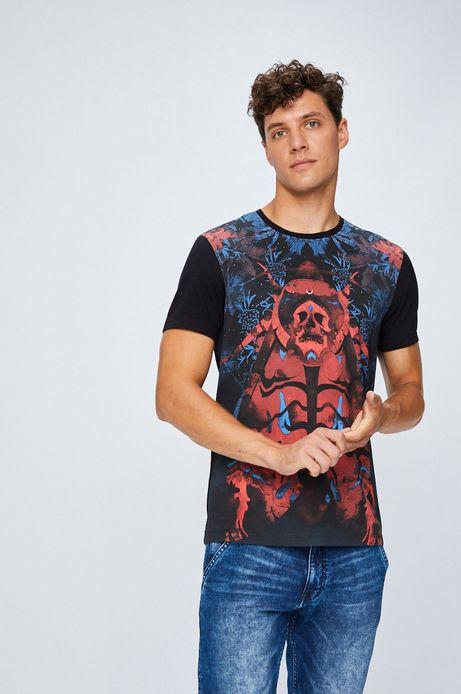T-shirt męski czarny z kolorowym wzorem