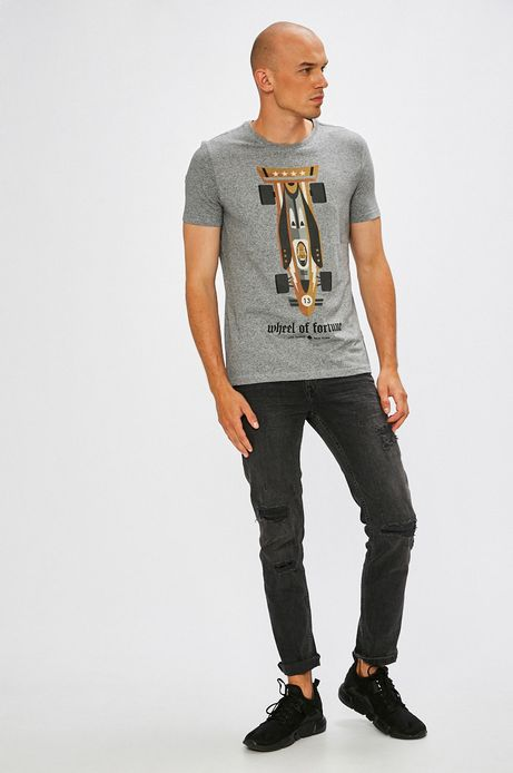 T-shirt męski Dawid Ryski for Medicine szary