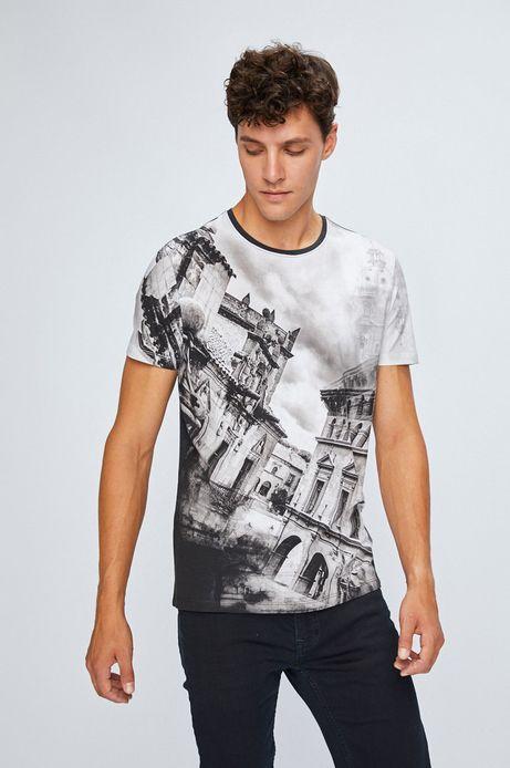 T-shirt męski z krótkim rękawem szary ze wzorem