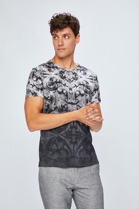 T-shirt męski szary wzorzysty