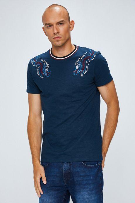 T-shirt męski granatowy z haftem