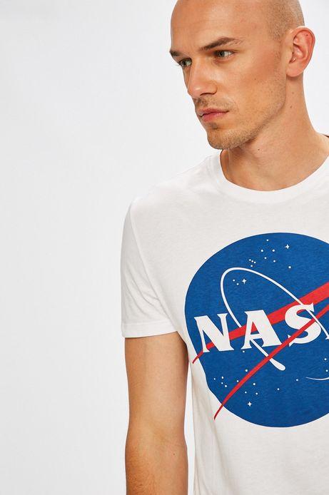 T-shirt męski biały z nadrukiem Nasa