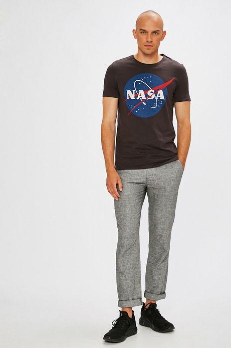 T-shirt męski czarnyz nadrukiem Nasa