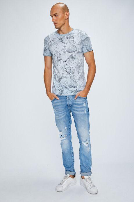 T-shirt męski niebieski ze wzorem