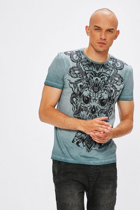 T-shirt męski niebieski z nadrukiem