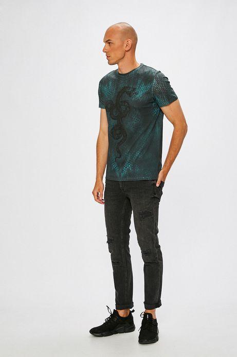 T-shirt męski wzorzysty z nadrukiem