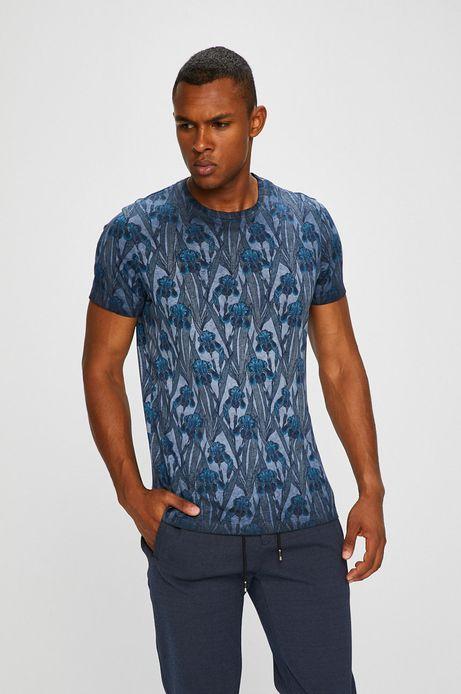 T-shirt męski granatowy ze wzorem