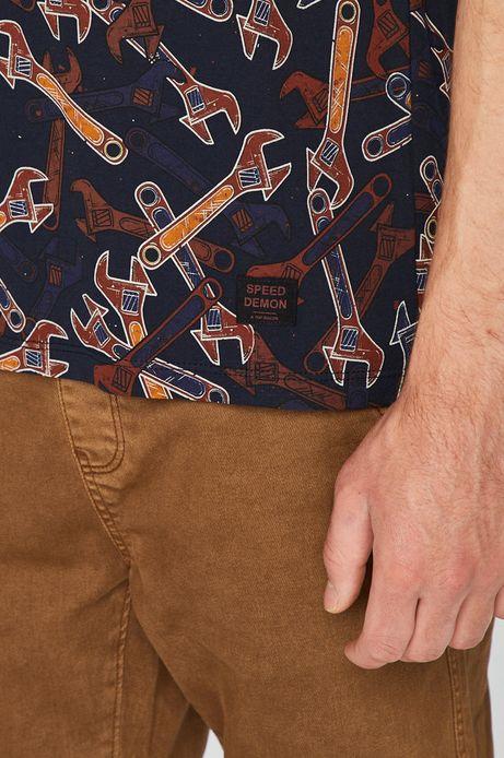 T-shirt męski granatowy w klucze francuskie