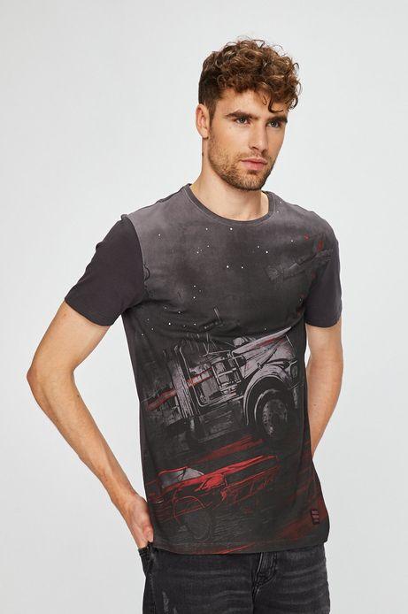 T-shirt męski regular fit szary z nadrukiem