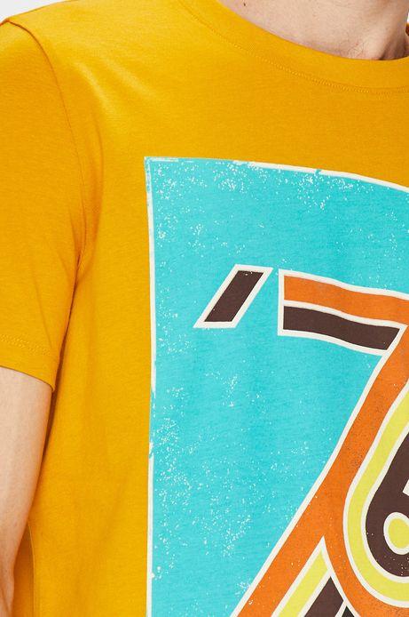 T-shirt męski żółty z nadrukiem