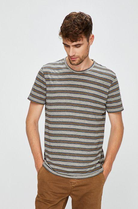 T-shirt męski szaryw paski