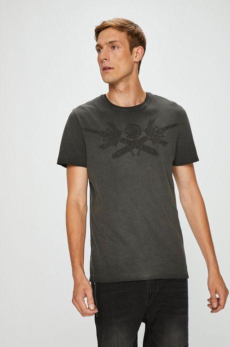 T-shirt męski szary z nadrukiem na piersi