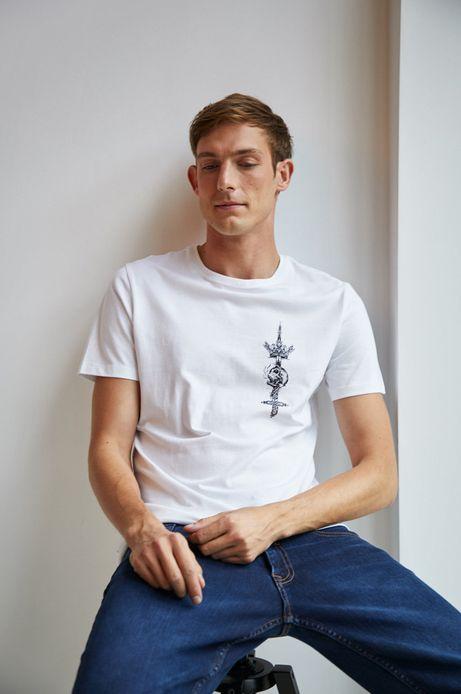 T-shirt męski biały z nadrukiem na piersi