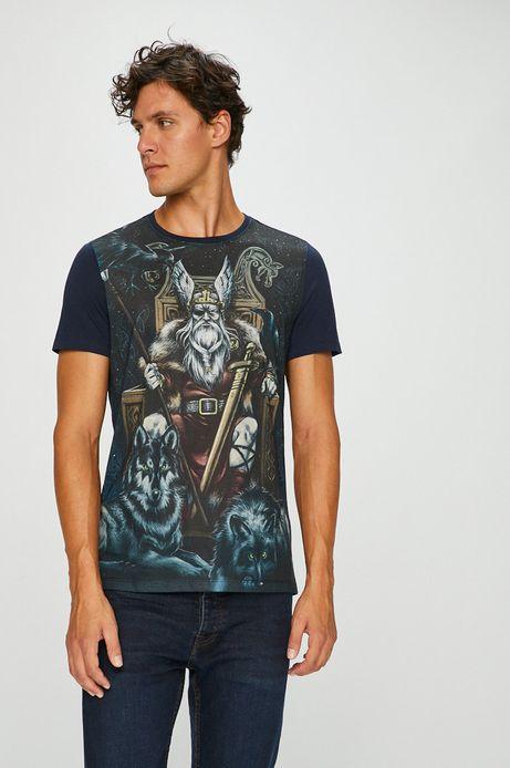 T-shirt męski granatowy z nadrukiem