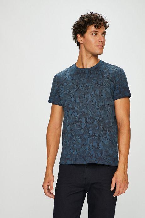 T-shirt męski granatowy wzorzysty w zwierzęta