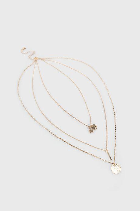 Naszyjniki damski z połączenia kliku łańcuszków złoty