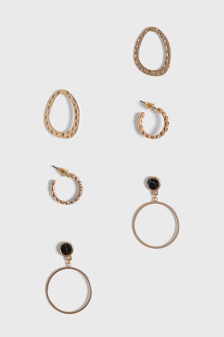 Kolczyki damskie złote (3-Pack)