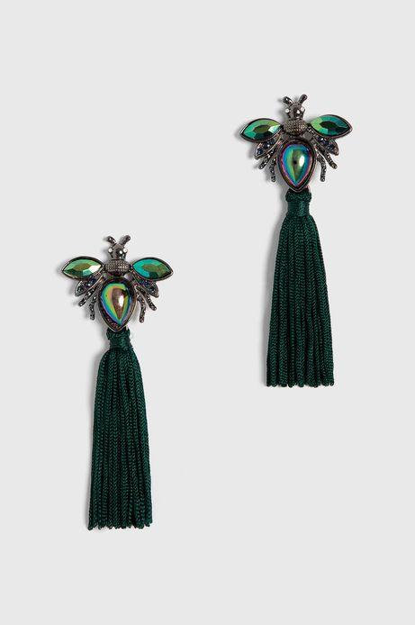 Kolczyki damskie wiszące z frędzlami zielone