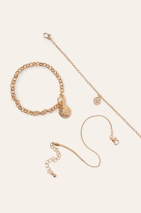 Bransoletki damskie złote (3-pack)