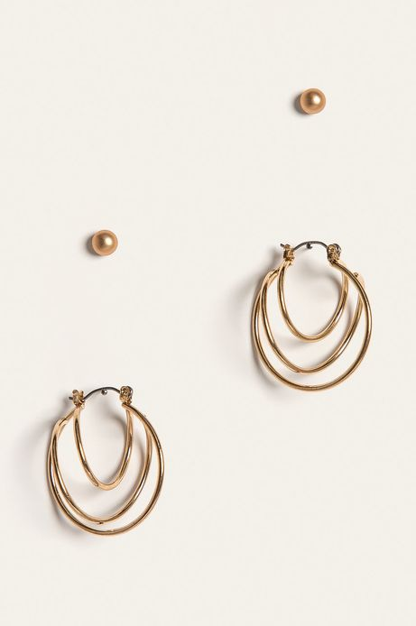 Kolczyki damskie złote (2 pack)