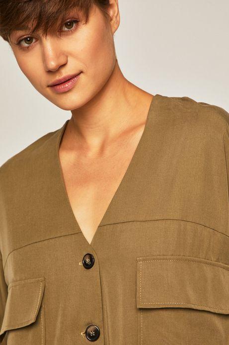 Koszula damska z obniżoną linią ramion zielona