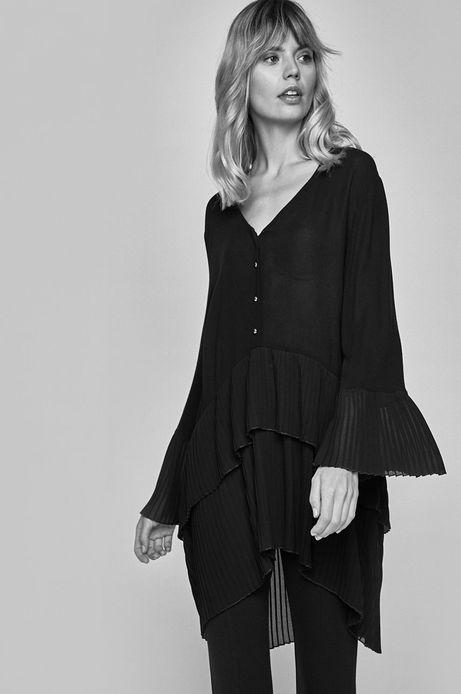 Koszula damska z rozszerzanymi rękawami czarna