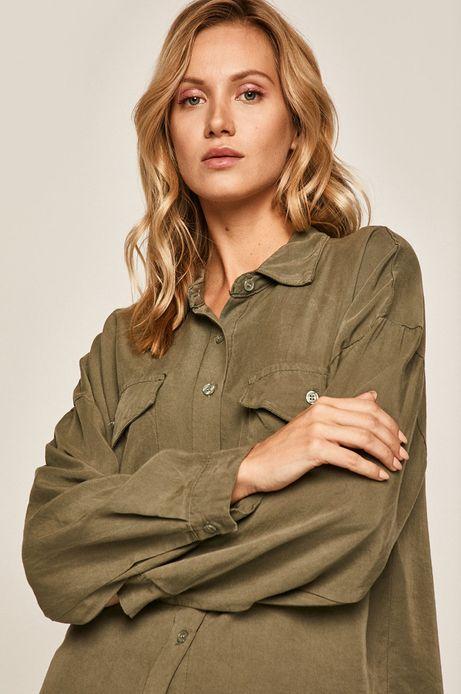Koszula damska z kieszeniami zielona