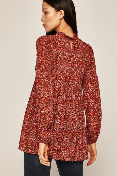 Bluzka damska z rękawami wykończonymi ściągaczem czerwona