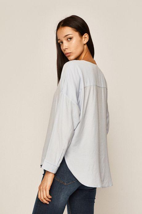 Bluzka damska ze spiczastym dekoltem niebieska