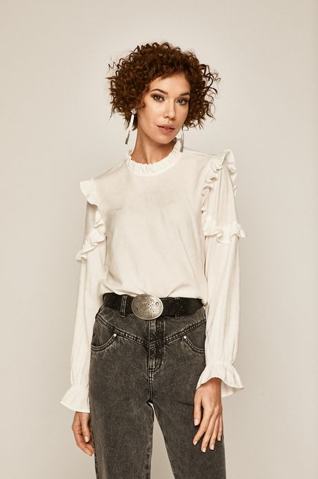 Bluzka damska z falbankami biała