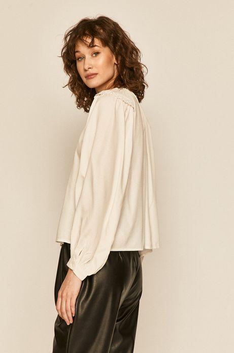 Koszula damska z ozdobnymi marszczeniami kremowa