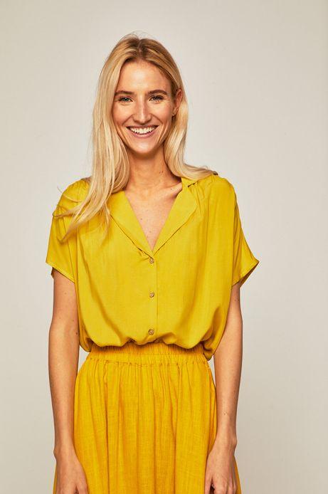 Koszula damska o luźnym fasonie żółta