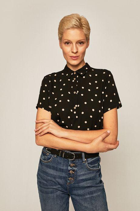 Bluzka damska z guzikami w grochy czarna