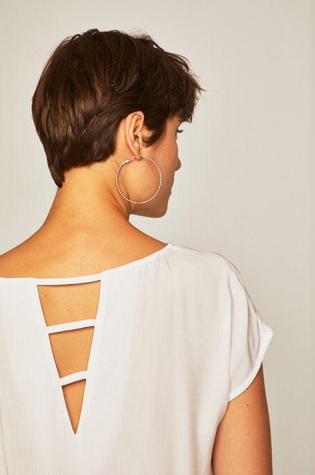 Bluzka damska z ozdobnym detalem na plecach biała