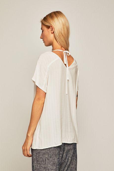 Bluzka damska z domieszką lnu biała