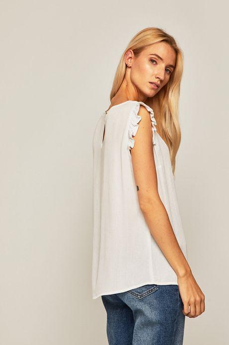 Bluzka damska  z ozdobnymi  falbankami biała