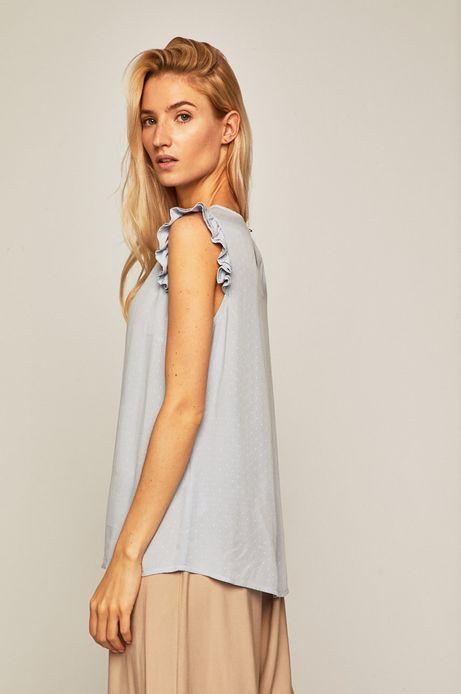 Bluzka damska z ozdobnymi  falbankami niebieska