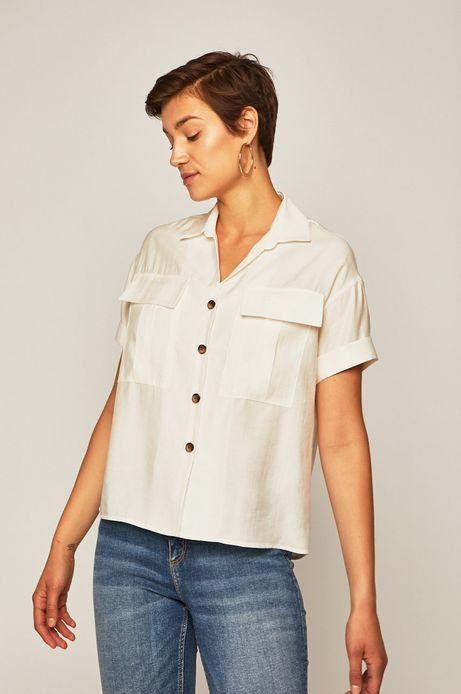 Koszula damska z kieszonkami biała