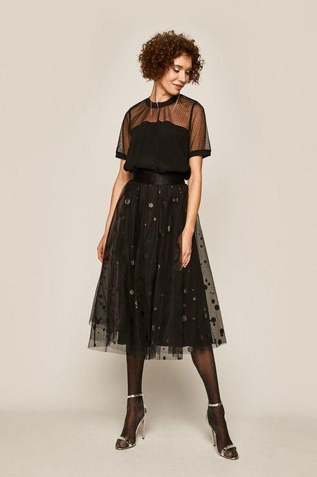 Bluzka damska z koronkową wstawką czarna
