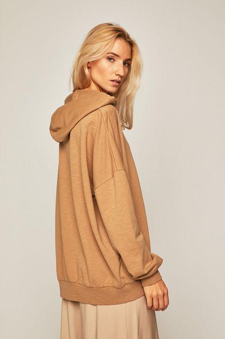 Bluza damska z obniżoną linią ramion beżowa
