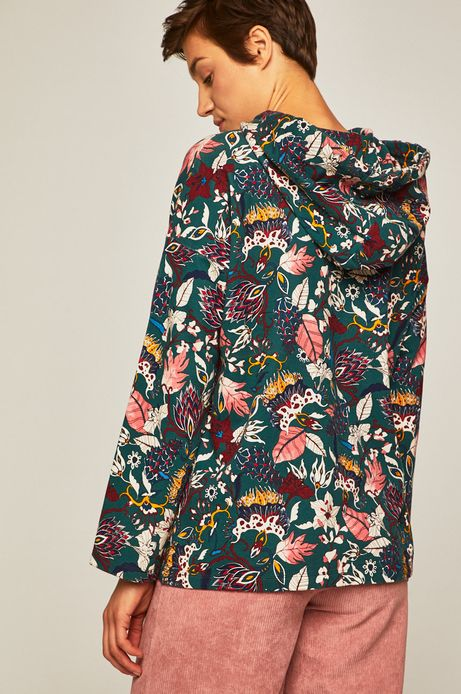 Bluza damska wzorzysta z kapturem zielona