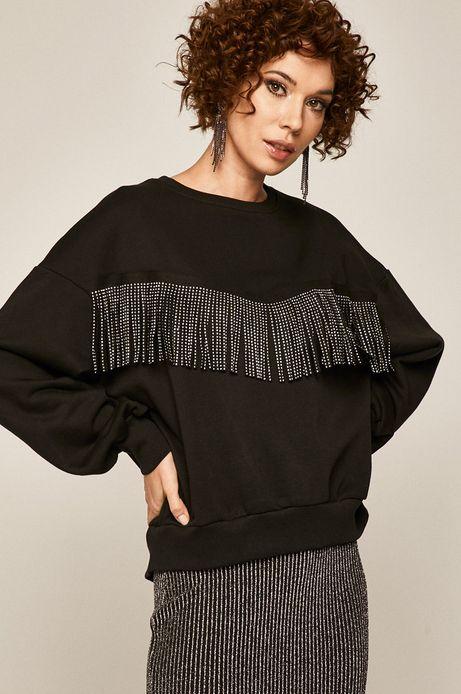 Bluza damska z frędzlami czarna