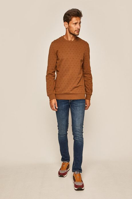 Bluza męska z okrągłym dekoltem brązowa