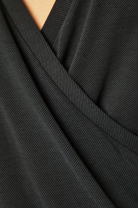 Bluzka damska z kopertowym dekoltem szra