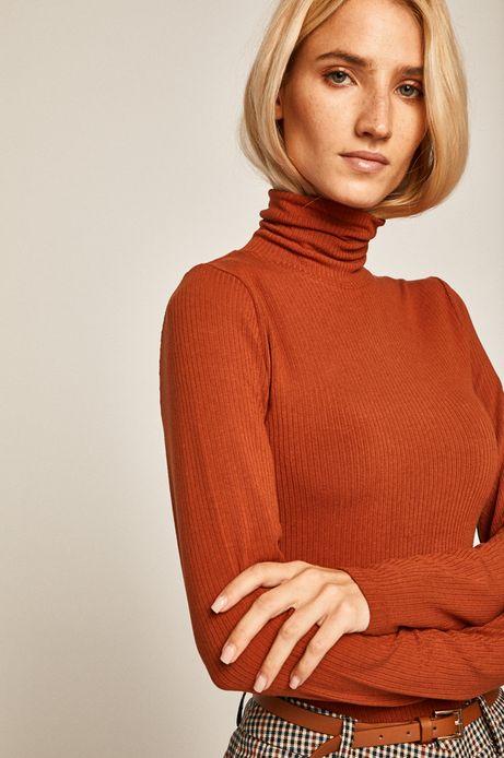 Bluzka damska z golfem ruda