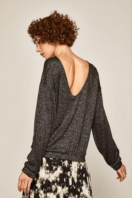 Bluzka damska z głębokim dekoltem na plecach czarna