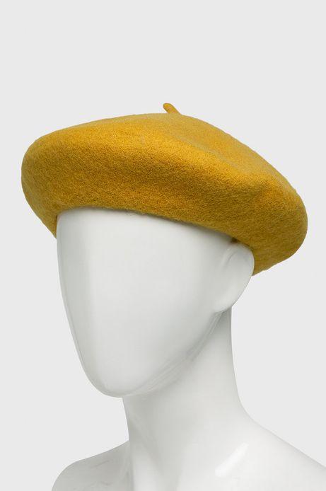 Beret damski wełniany żółty